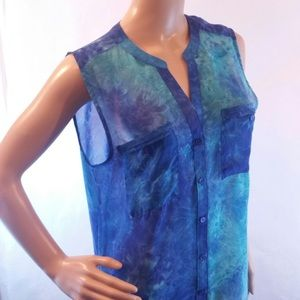 Fred David Tops - Fred David whimsical sheer blue button sleeveless